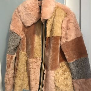 Jackets & Blazers - Fur & Embroidered Patch Coat